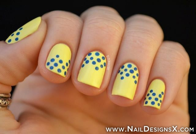 Yellow Nails With Blue Dots Design Idea