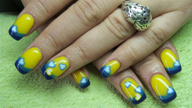 Nail design blue and yellow most beautiful yellow nail art design latest yellow and blue nail art designs prinsesfo Choice Image