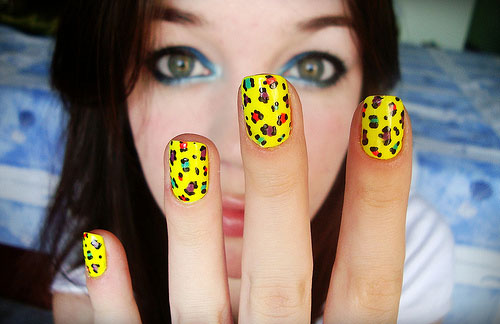 Yellow Nails With Colorful Leopard Print Nail Art