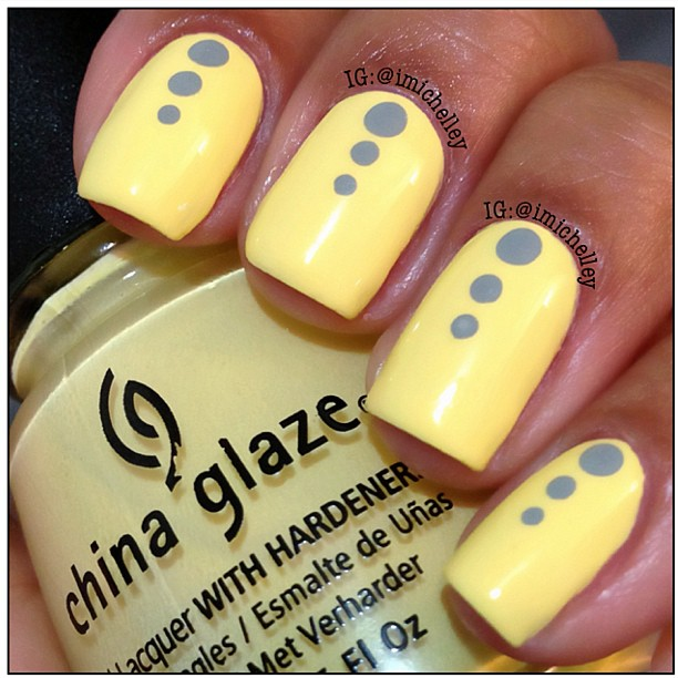 Yellow Nails With Grey Polka Dots Nail Art