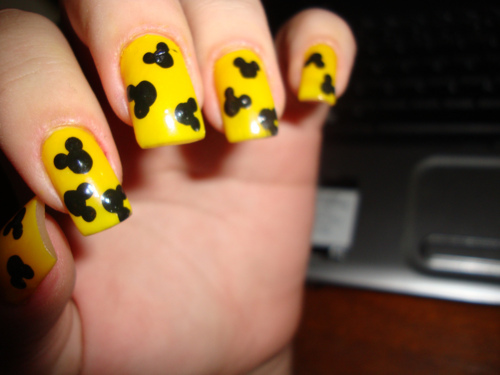 Yellow Nails With Mickey Mouse Nail Art
