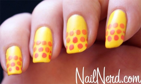 Yellow Nails With Orange Polka Dots Nail Art