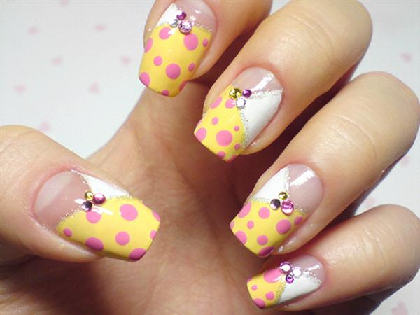 Yellow Nails With Pink Polka Dots And Rhinestones Design Idea