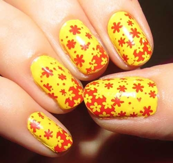 Yellow Nails With Red Flowers Nail Art