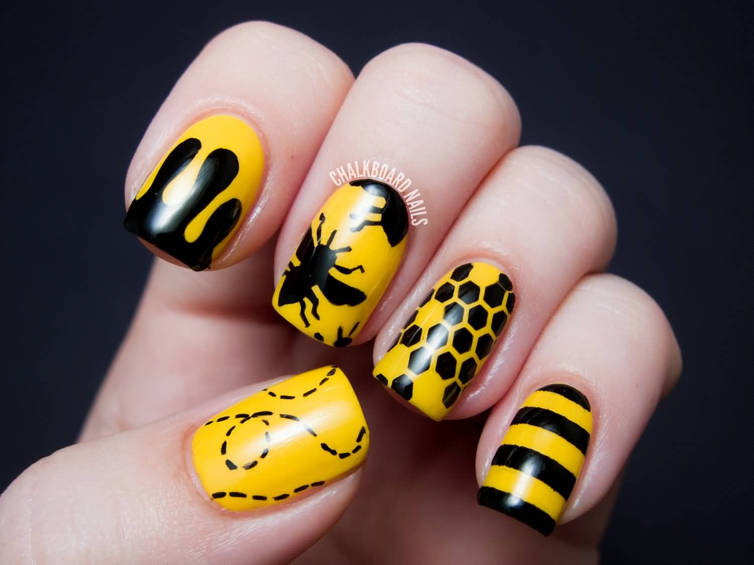 Yellow Nails With Silhouette Bee Dots And Stripes Design Nail Art