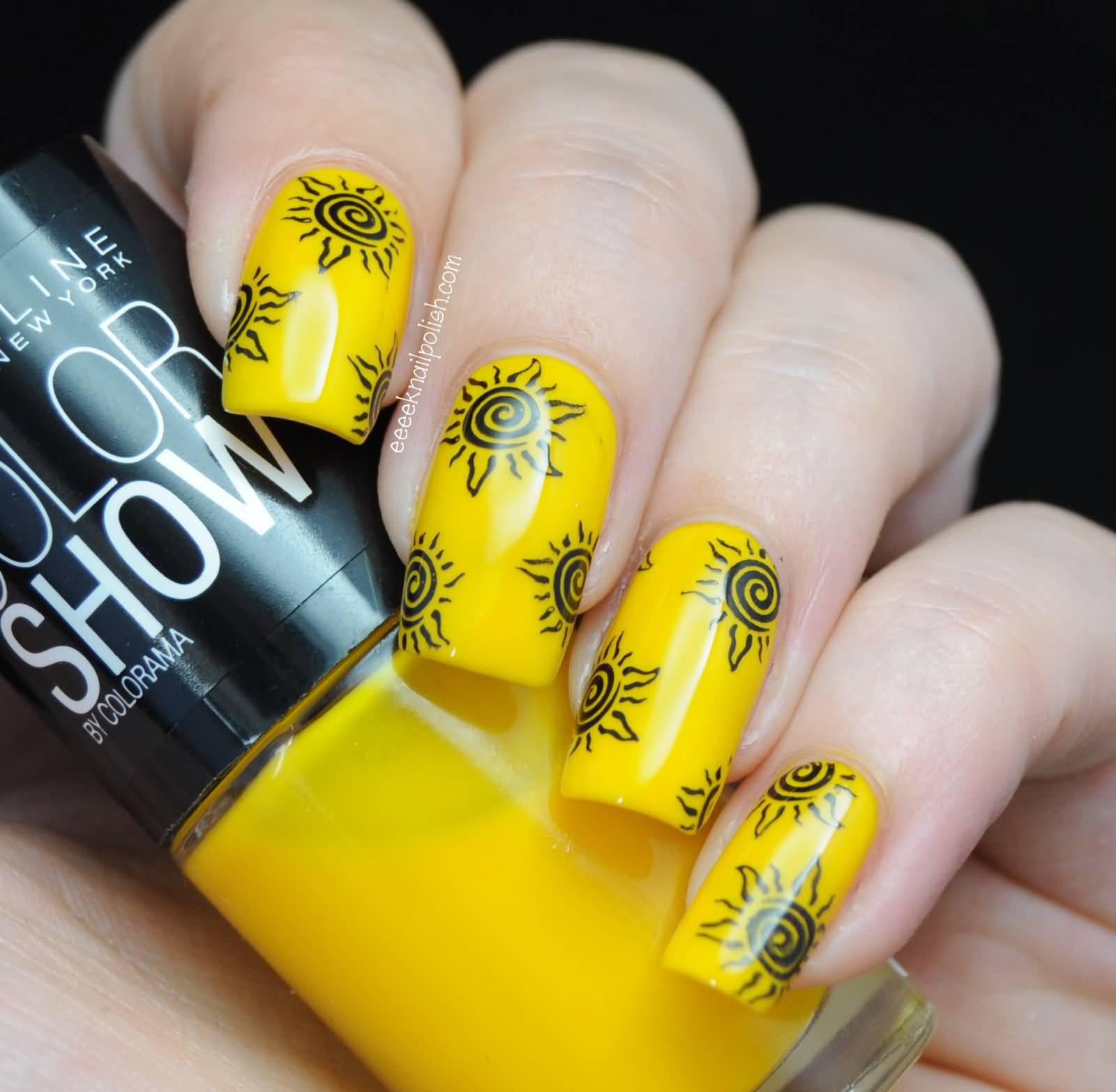 Yellow Nails With Sun Design Nail Art