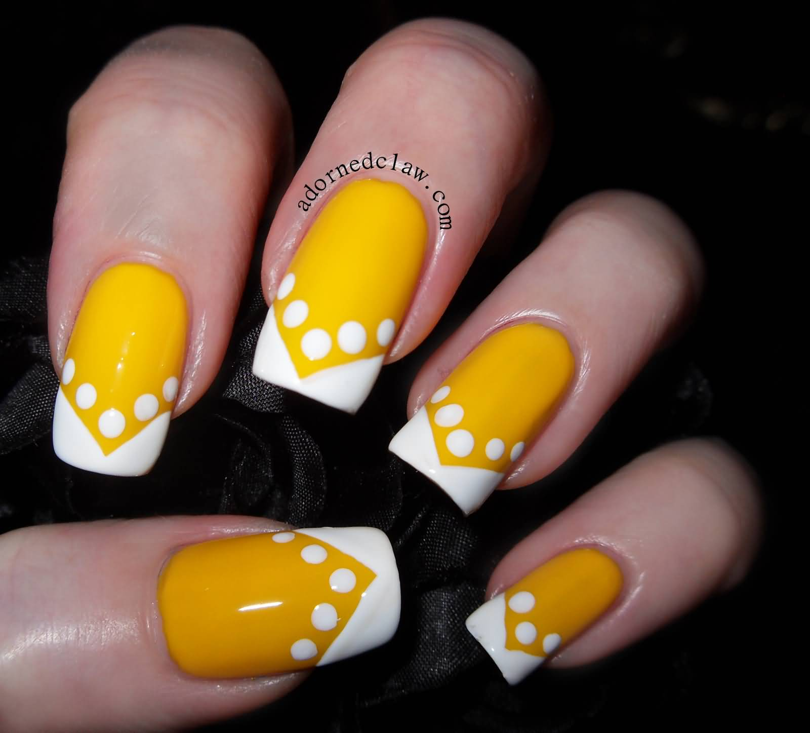 Yellow Nails With White Chevron Design And Polka Dots Design