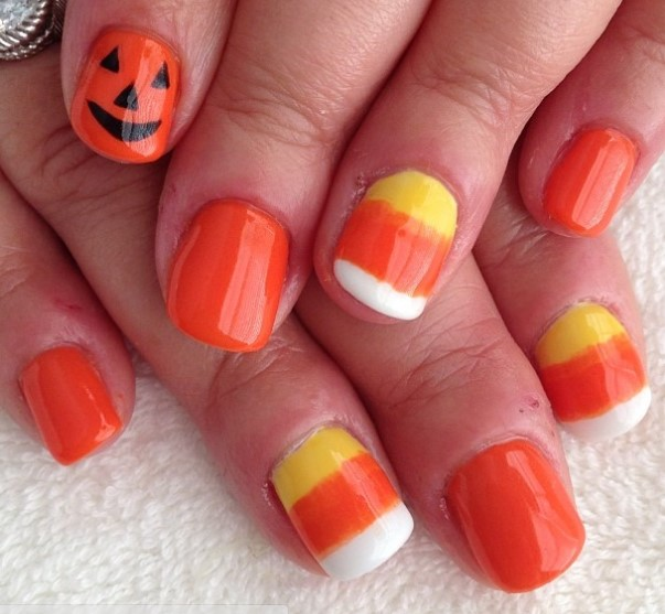 Yellow Orange And White Candy Corn Halloween Nail Art