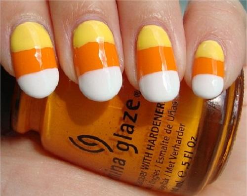 Yellow Orange And White Candy Corn Nail Art