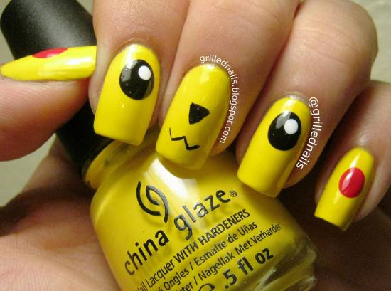 Yellow Pikachu Nail Art Design