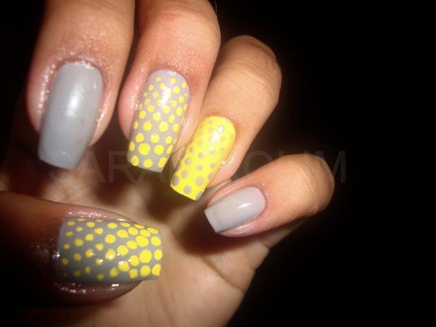 Yellow Polka Dots On Grey Nails
