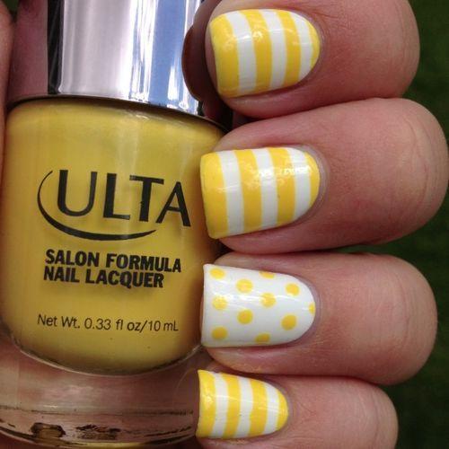 Yellow Stripes And Dots Design Nail Art