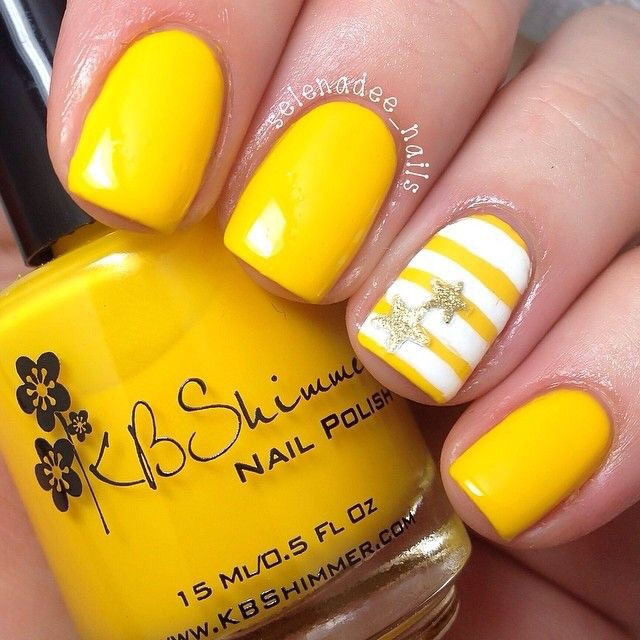 Yellow Stripes Nail Art Design Idea