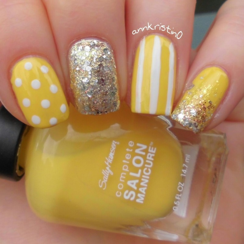 Yellow Stripes And Polka Dots With Glitter Nail Art