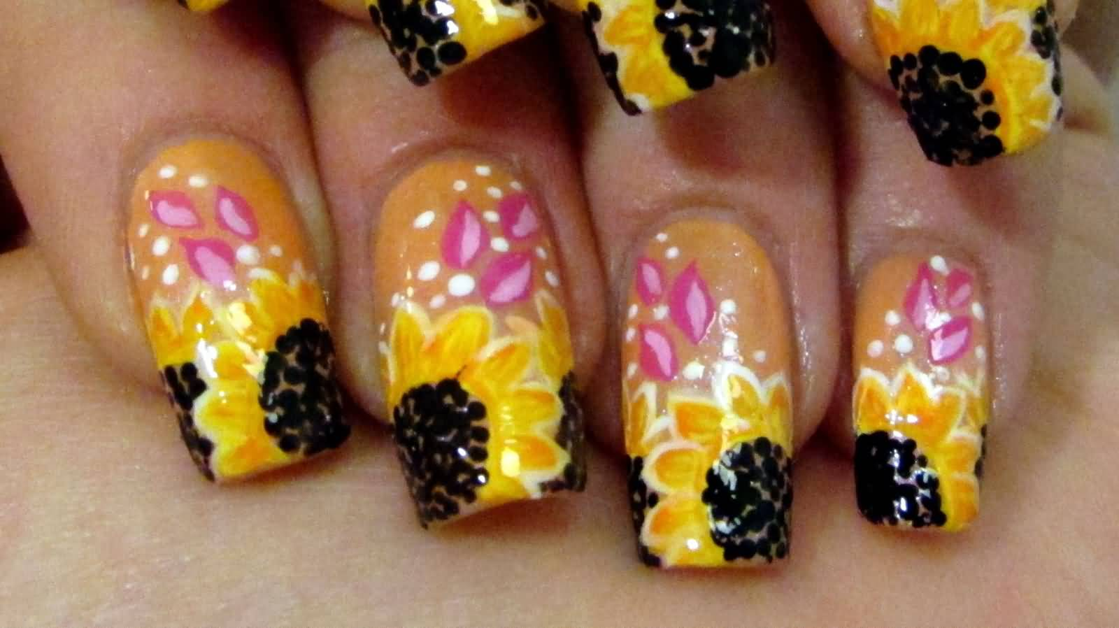 Yellow Sunflower With Pink Petals Nail Art