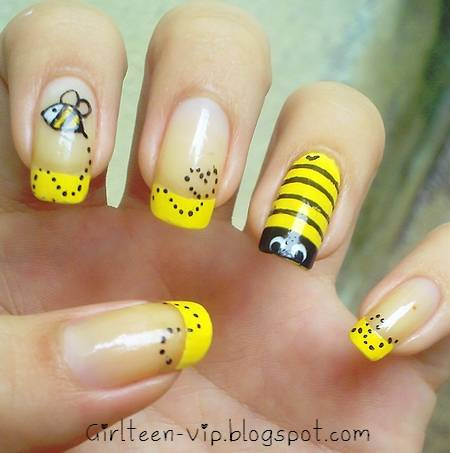 55 latest yellow nail art designs yellow tip and bumble bee nail art design prinsesfo Choice Image