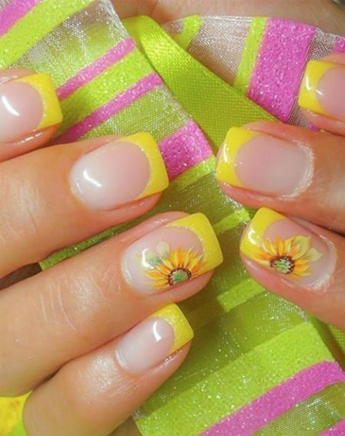 Yellow Tip And Flowers Nail Art