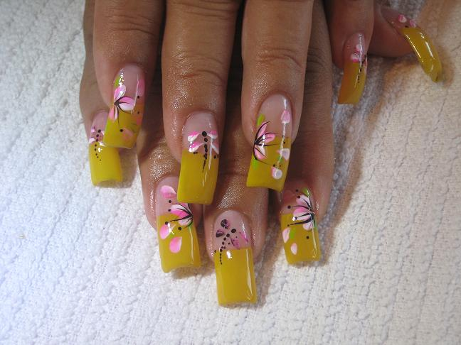 Yellow Tip And Pink Flowers Nail Art For Long Nails