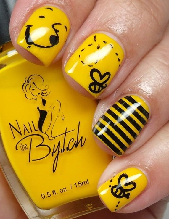 Yellow Winnie The Pooh And Flying Bee Nail Art Design Idea