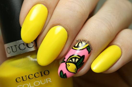 Yellow Nails With Lemon Design Idea