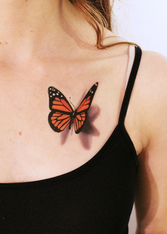 204e6ae93 3d Butterfly Temporary Tattoo On Girl Chest