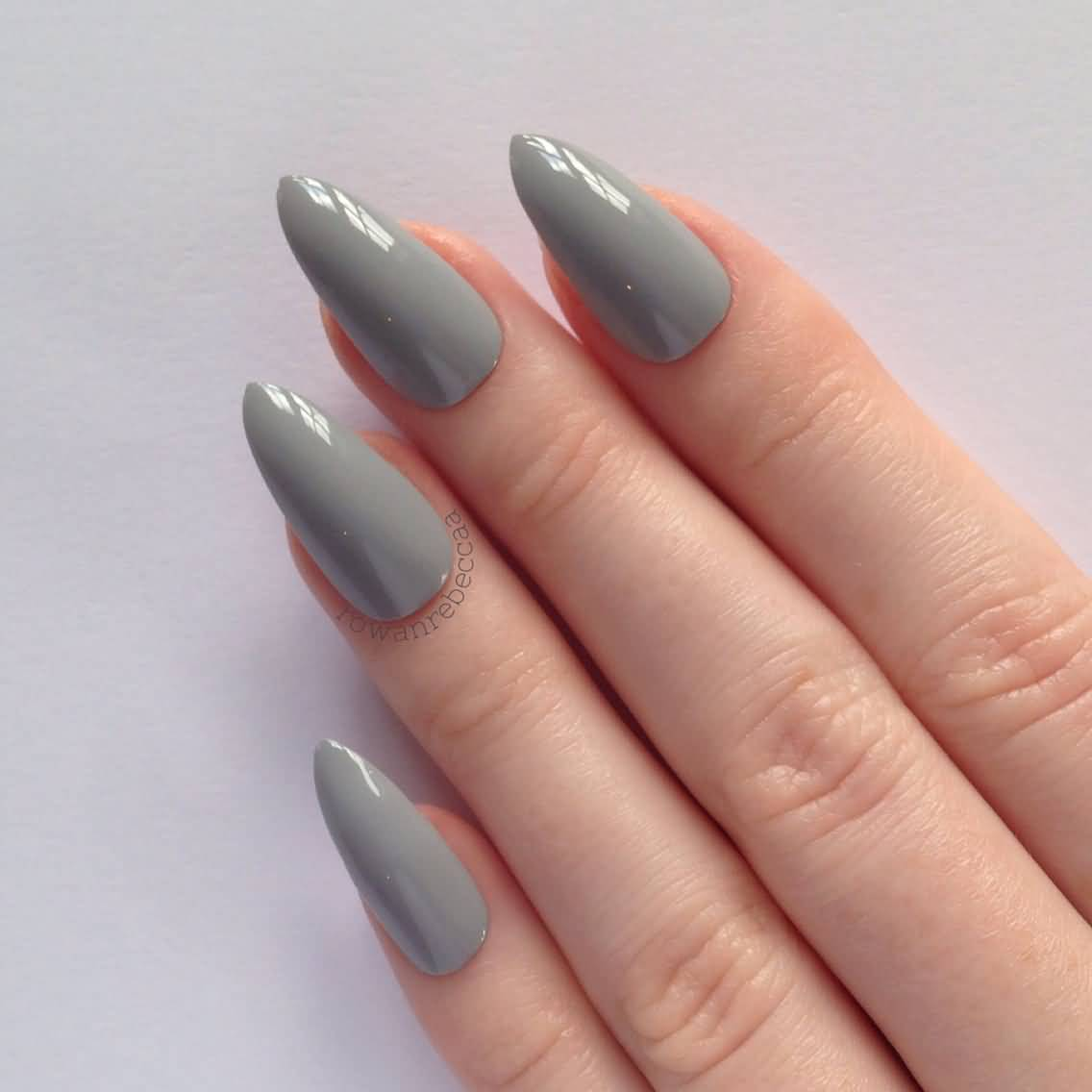 Acrylic Gray Stiletto Nail Art