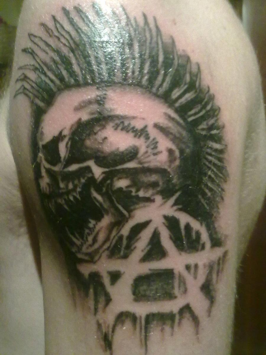 63a6cddf1 Anarchy Logo And Punk Skull Tattoo On Shoulder