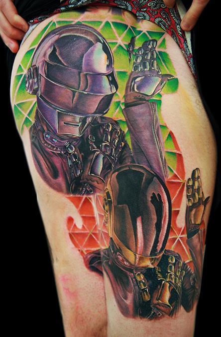 c44274b73 Awesome Draft Punk Tattoo On Thigh