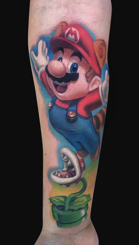 Awesome Super Mario Tattoo By Jamie Lee Parker