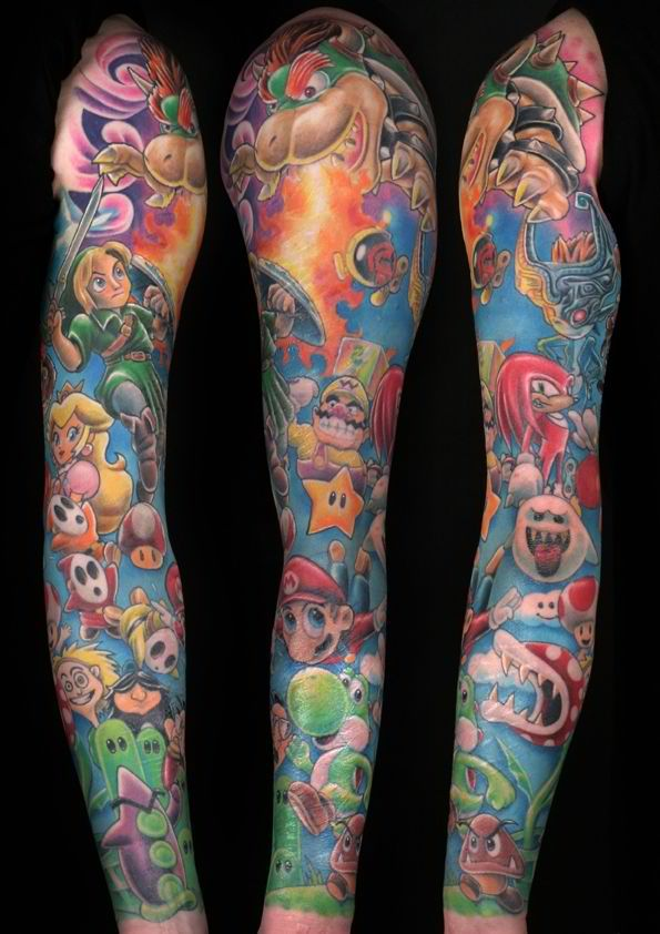 Awesome Super Mario Tattoo On Full Sleeve