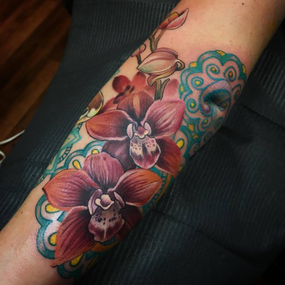 Beautiful flowers tattoos on forearm by melissa fusco for Forearm flower tattoos