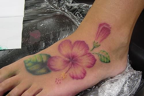 37 Hibiscus Flowers Tattoos On Foot