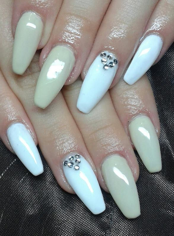 Beige And White Nails With Diamonds Design Idea
