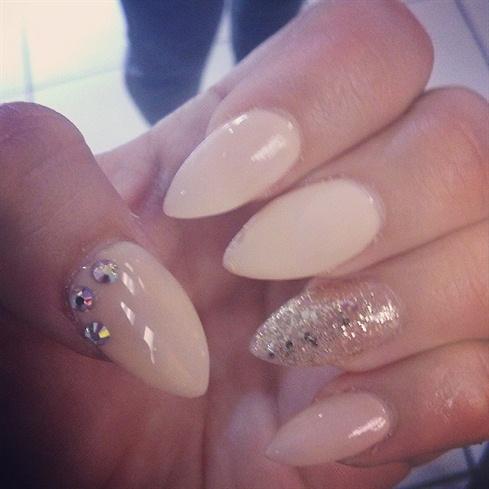 Beige Almond Nails With Rhinestones Nail Art - 55+ Most Beautiful Beige Nail Art Design Ideas