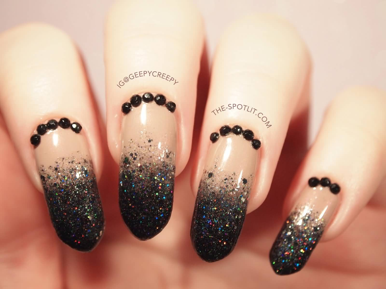 55 black and beige nail art design idea beige and black glitter and caviar beads design nail art prinsesfo Gallery