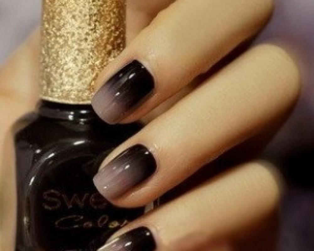 Beige And Black Gradient Nail Art - 55+ Black And Beige Nail Art Design Idea