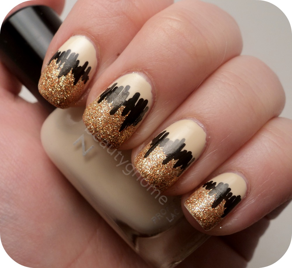 beige and gold glitter with black design idea