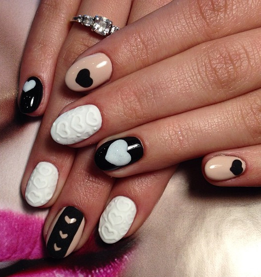 55 black and beige nail art design idea beige black and white hearts design nail art prinsesfo Image collections