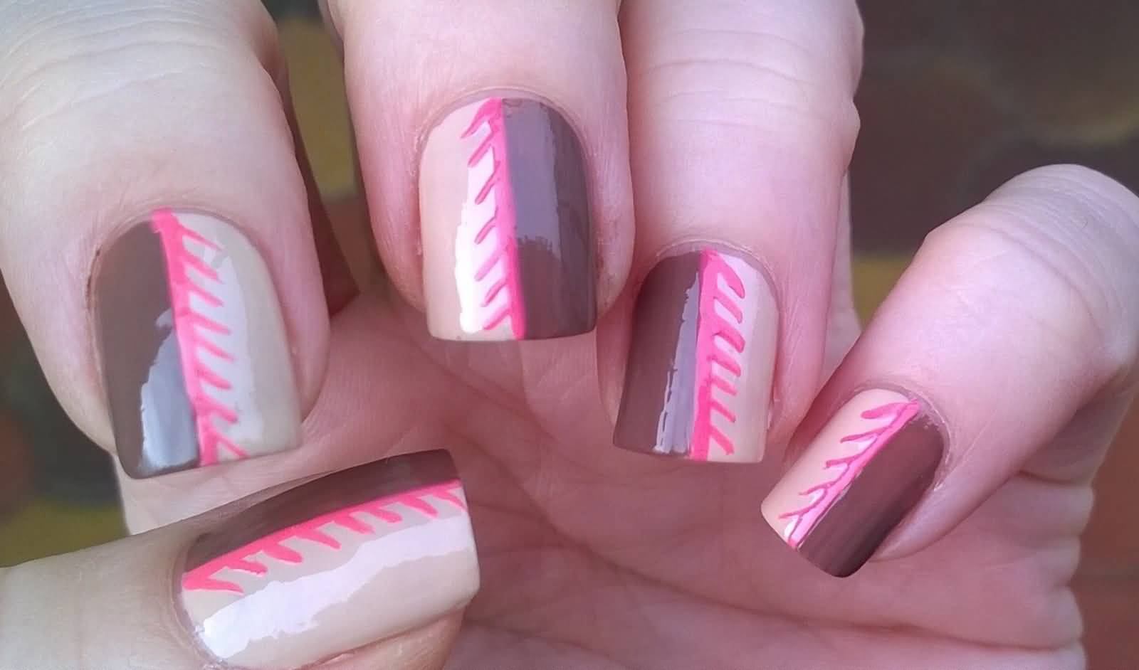 Beige Brown And Pink Nail Art With Tutorial Video