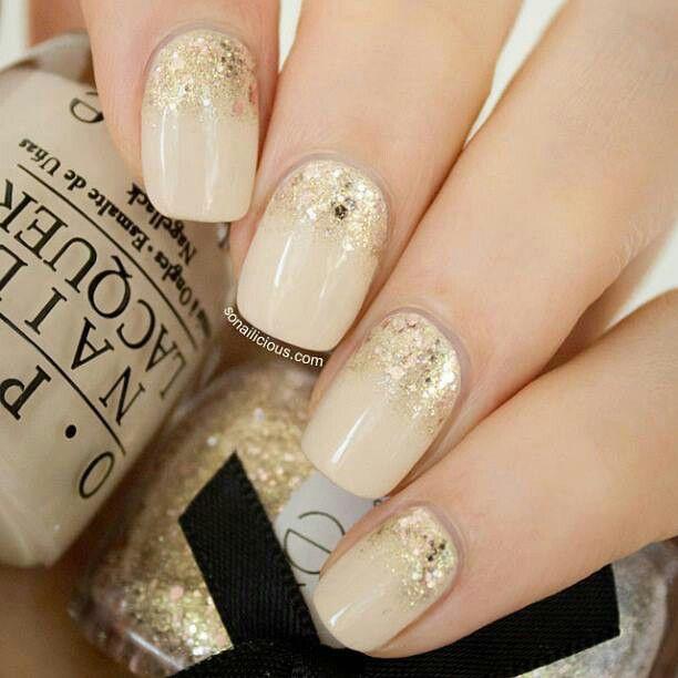 Beige Glitter Gradient Nail Art - 55+ Most Beautiful Beige Nail Art Design Ideas
