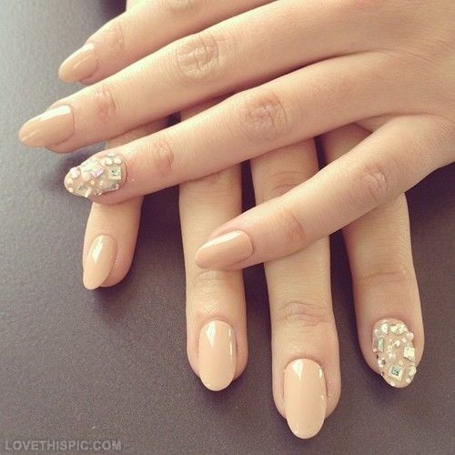 Beige Nail Art With Diamonds Design