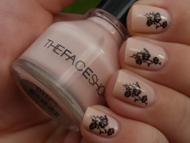 55 most beautiful beige nail art design ideas beige nails with black floral design nail art prinsesfo Image collections
