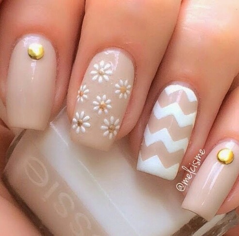 Beige Nails With Flowers And Chevron Design Nail Art - 55+ Most Beautiful Beige Nail Art Design Ideas