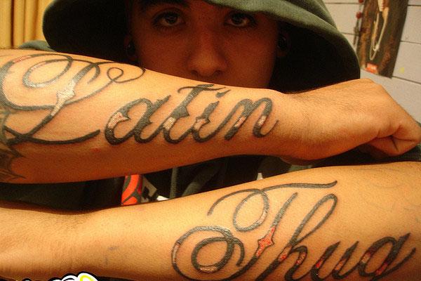 45 amazing thug life tattoos and ideas for Latin tattoo fonts