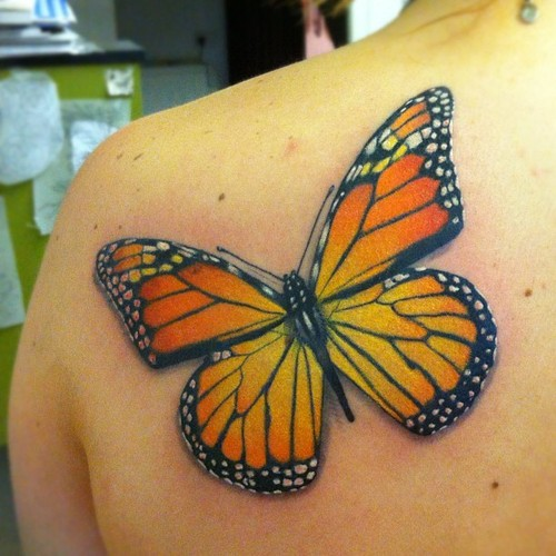 3D Monarch Butterfly Tattoo On Back Shoulder For Girls