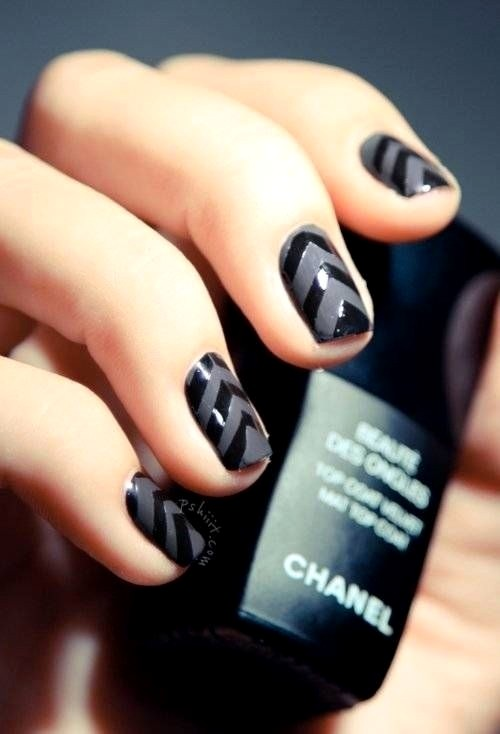 Black And Gray Chevron Design Nail Art