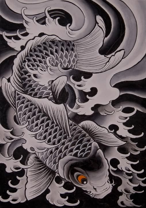 5 latest tattoos designs by chris garver for Grey koi fish