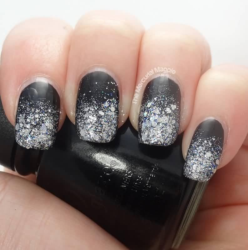 Black And White Glitter Grant Nail Art