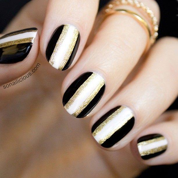 Black And White Nails With Golden Strip Design Nail Art