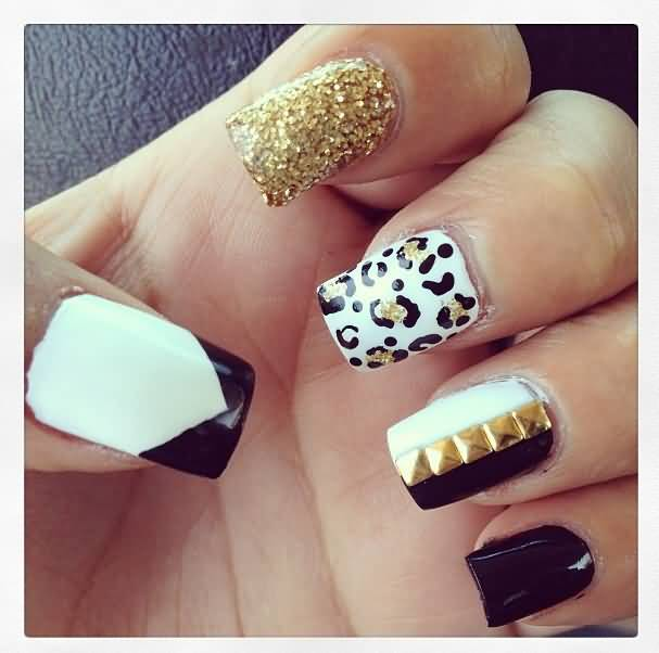 Nail Art Black White And Gold: 55+ Stylish White And Gold Nail Art Design Ideas
